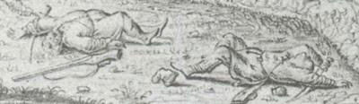 Мал. 19. Козаки які загинули в бою, з гравюри А. Ван Вестерфельда.